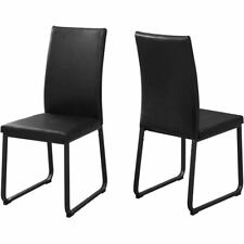 """Monarch Specialties Dining Chair 2pcs 38""""H Black Leather-look Black"""
