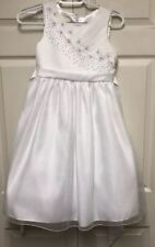 New American Princess White Bead Wedding Ball Gown Pageant Party Dress Girls 10