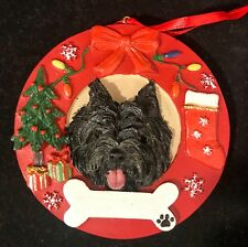 Adorable Black Cairn Terrier in a Christmas Wreath Ornament
