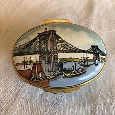 """Halcyon Days Enamels """"Brooklyn Bridge"""" 1983 Box Designed by Tiffany & Co."""