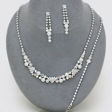 AB /WHITE CRYSTAL TRIANGLE PEARL  BRIDAL/PROM  NECKLACE , B,  EARRING SETS 7