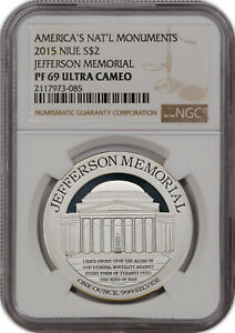 2015 AMERICA'S NAT'L MONUMENTS NIUE SILVER $2 JEFFERSON MEMORIAL NGC PF 69 U.C *