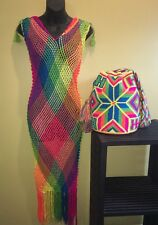 NEW Combo 2pcs colombian Mochila Wayuu Bag + Handmade coverup Crochet Knit Dress