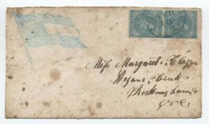 1860s rare confederate flag patriotic cover (stamps replaced) [JP.202]