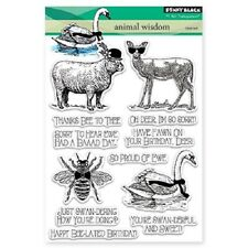 PENNY BLACK RUBBER STAMPS CLEAR ANIMAL WISDOM NEW STAMP SET