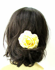 Light Yellow Camellia Flower Hair Comb Bridesmaid Floral Rockabilly Rose 1937