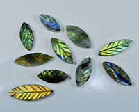 Natural Labradorite Leaf Carving Mix Shape Cabochon Loose Gemstone Lot qp060