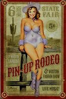 PLAQUE METAL vintage USA PIN UP RODEO WESTERN  - 45 x 30 cm