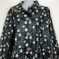 Disney Shopping XL Black Raincoat Mickey Pockets Snap Front Polka Dot Mickey