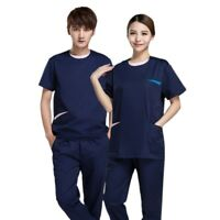 Unisex Scrubs Set Top+Pants Hospital Uniform Spa Clothes Workwear New