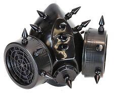 Gas Mask Respirator Black Spike Punk Goth Rave Cyber Halloween Dual Filter