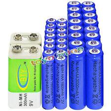 16xAA 3000mAh+16x AAA 1800mAh 1.2V NI-MH Rechargeable Batteries+2x BTY 9v 300mAh
