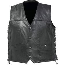 Black Leather Concealed Carry Vest Motorcycle Biker Harley Rider