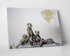 BANKSY GOLD LEOPARDS Graffiti Canvas Art Wall Art Print Picture Photo -D395