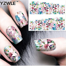 Nail Art Stickers Transfers Decals Pink Flowers (A-72)