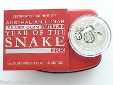 2013 Australia Lunar Snake Colour $1 One Dollar Silver Proof Coin Box Coa