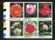 "Angola, CTO plate block of 6, ""Flowers"" issued 2000, see scan"