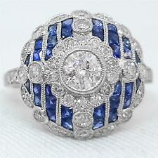 Platinum 1.69ct Brilliant Cut G-SI Diamond & French Cut Sapphire Ring Sz 6.5