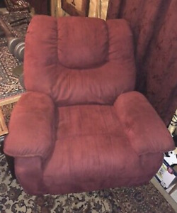 RED MICROFIBER RECLINER WITH SIDE TABLE