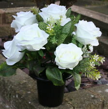 Artificial cream rose  Silk Flower Arrangement Cemetery Memorial Grave Pot Vase
