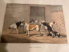 "1820 Henry Alken Fox Hounds Hunting Sporting Dogs English Tinted Print 18x12"" x"