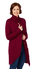 WoolOvers Burgundy Pure Wool Aran Cable Knit Coatigan Coat Cardigan Sweater