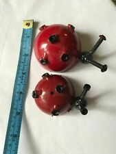 Red Spotted Ladybug Art Figurine Metal Screws Black Garden Gift Present New Doll