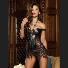 Sexy Robe faux cuir dentelle modèle VENISE et G-string