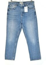 Topshop EDITOR High Waisted Straight Blue Cropped Jeans Size 14 W32 L30