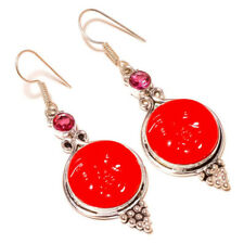 Carved Moon Red Face with Tourmaline silver plated Handmade Celestial Earrings