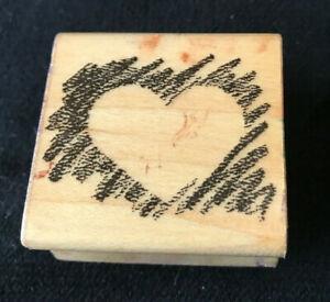Vintage HEART Wood Wooden Rubber Stamp HERO ARTS 1985