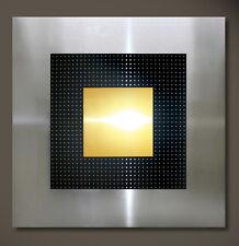 original abstracto Metal Mural Moderno Art Decó Negro Oro Plata 3d 22