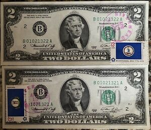(2) Consecutive 1976 $2 Federal Reserve Notes FRN w/ First Day of Issue Stamps