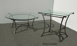 Vintage Spanish Style Matching Coffee Table and End Table w Glass Tops