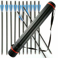 12Pcs Carbon Arrows 20 inch Crossbow Bolts Arrows OD 8.8mm +Stretchable Quivers