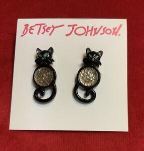 BETSEY JOHNSON Black Cat Stud Belly Earrings Kitten Blue Eyes