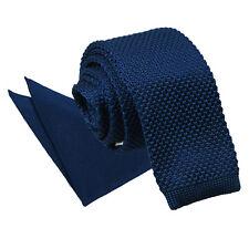DQT Knit Knitted Plain Navy Blue Casual Men's Skinny Tie Handkerchief Set