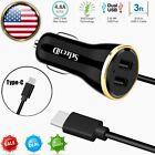 Dual USB Car Charger Power Adapter Type-C For Samsung Galaxy S20 S21 LG Sony US