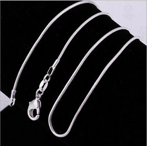 Wholesale 1X 16-30inch Jewelry 925 Sterling Silver Plated Snake Chain Necklaces