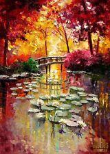 Lily Pond Lotus Flower Sunrise Trees Ltd Edition ACEO Print Art Yary Dluhos .