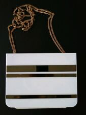 Vintage 70S WHITE PLASTIC GOLDEN DISCO ERA Purse bag GOLD CHAIN FUNKY COUTURE