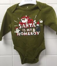 Santa Is My Homeboy 0-3m Baby Rock Onesie Bodysuit Top Shower Hip Hop Rap