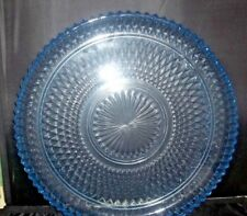 """Vintage Indiana Glass Diamond Point Torte Platter Serving Tray Ice Blue 12"""" Wide"""