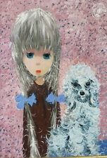 Mid Century Textured Oil Painting Blonde Big-Eyed Girl with Grey Poodle Signed