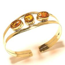 Amber Bangel Cuff Bracelet Tibetan Silver Brass Gemstone Handmade Jewelry