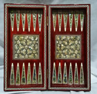 """Egyptian Beech Wood Backgammon/chess Board Inlaid Natural Mother Of Pearl 12"""""""