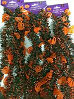 3 x Pumpkin Jack O Lantern Tinsel Garland 9' HALLOWEEN Holiday*USA SELLER*