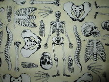 SKELETONS BONES PARTS TAN BEIGE COTTON FABRIC FQ