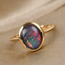 Boulder Opal Womens Solitaire Engagement Ring 14K Gold Plated Sterling Silver