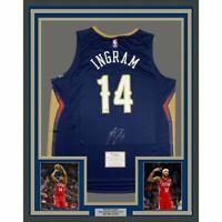 FRAMED Autographed/Signed BRANDON INGRAM 33x42 New Orleans Jersey Fanatics COA